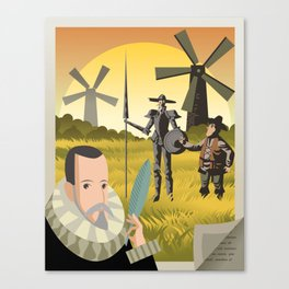 great spanish writer and old quixote knight with sidekick Canvas Print