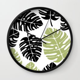 palm leaves black and Wall Clock