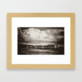 Storm Builds Over Charlie Russell Chew Choo Sepia Framed Art Print