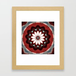 Decorative Deep Red and White Flower Design Framed Art Print