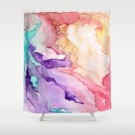 Color My World Watercolor Abstract Painting Shower Curtain