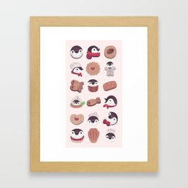 Cookie & cream & penguin - pink pattern Framed Art Print