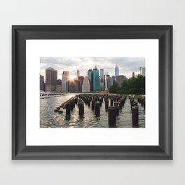 Sunset on Manhattan Framed Art Print
