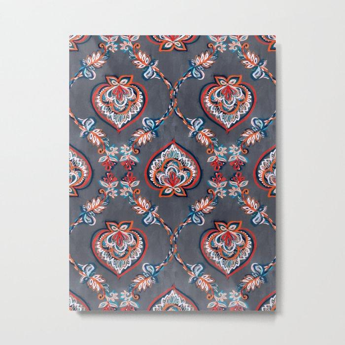 Floral Ogees in Red & Blue on Grey Metal Print