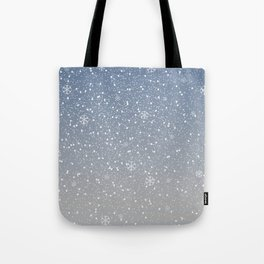 Winter Snowy Background fill with snow and snowflakes. Winter, Merry Christmas collection Tote Bag