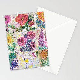 wild watercolor floral grid Stationery Cards