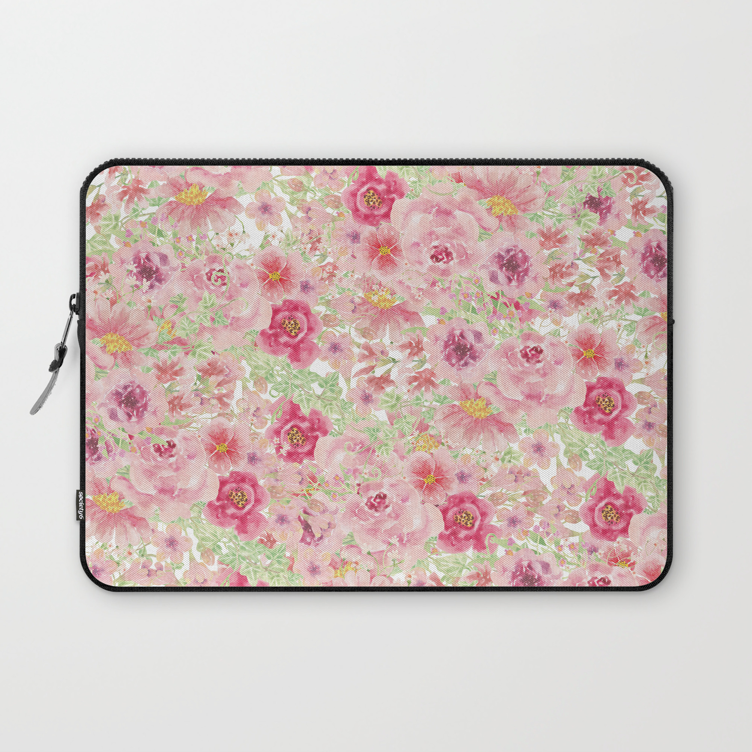 Pastel Pink Red Watercolor Hand Painted Floral Laptop Sleeve By