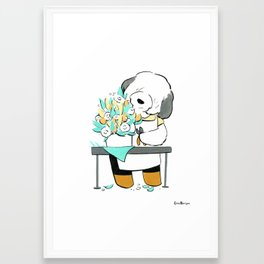 English Sheepdog Florist (Dogs with Jobs series) Framed Art Print