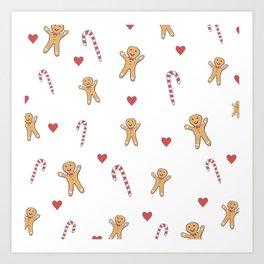 Gingerbread Men & Candy Canes Art Print