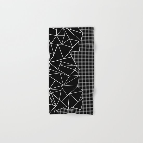 Abstract Grid Outline White on Black on Side Hand & Bath Towel