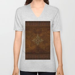 Antique Steampunk Compass Rose & Map Unisex V-Neck