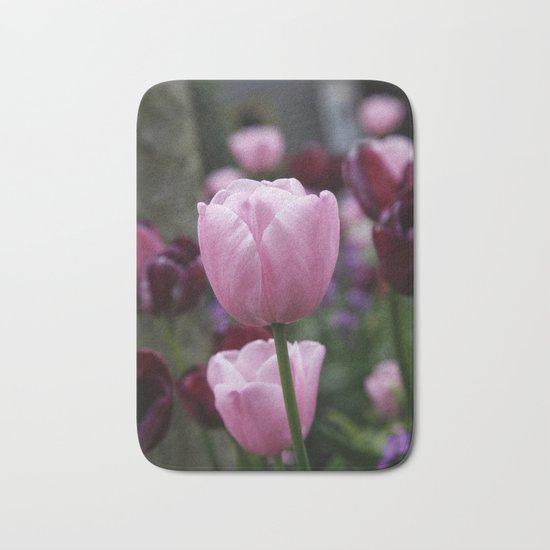 Tulips on Pink Bath Mat