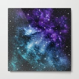 Purple Teal Galaxy Nebula Dream #1 #decor #art #society6 Metal Print