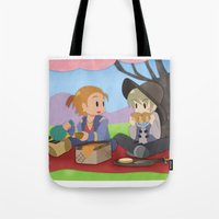 dragon age inquisition Tote Bags featuring Dragon Age - Varric and Cole Picnic by Choco-Minto