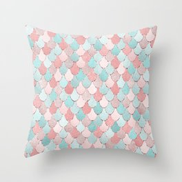 Mermaid Coral, Rose Gold, Pastel Pink, Aqua and Teal, Cute Colorful Pattern Throw Pillow