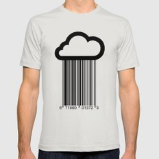 Barcode Cloud illustration  Mens Fitted Tee Silver LARGE