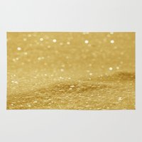 gold glitter Area & Throw Rugs featuring Glitter Gold by Alice Gosling