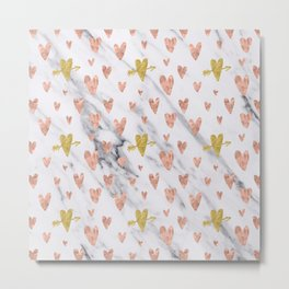 Rose Gold Hearts Marble Pattern Metal Print