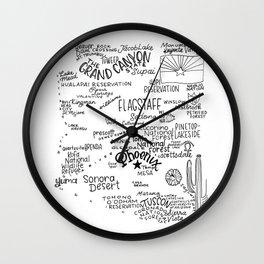 Arizona - Handl lettered map Wall Clock