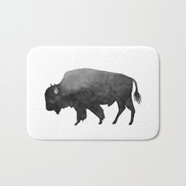 Charcoal Bison, Watercolor buffalo Bath Mat