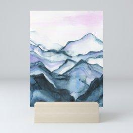 Indigo abstract watercolor Mini Art Print