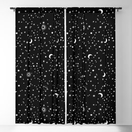 Black Space Theme Blackout Curtain