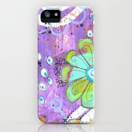 Mixed media painted background with flowers iPhone Case