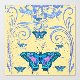 ORNATE BLUE BUTTERFLIES SCROLL DESIGNS  ART Canvas Print
