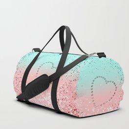 Summer Vibes Glitter Heart #1 #coral #mint #shiny #decor #art #society6 Duffle Bag