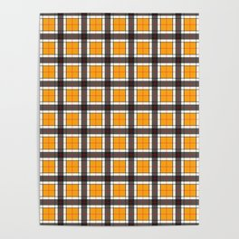Orange Plaid Pattern Poster