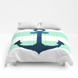 Anchor on Mint Stripes Comforters