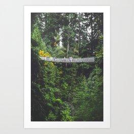 381. Suspension Bridge in Forest, Vancouver, Canada Art Print