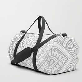 Silver Mandala Pattern Illustration Duffle Bag