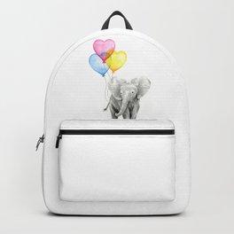 Elephant Watercolor with Balloons Rainbow Hearts Baby Animal Nursery Prints Backpack