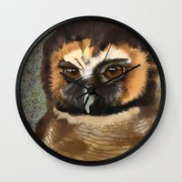 loish Wall Clocks featuring Brown Wood Owl  by Visual Condyle