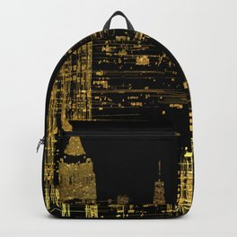 Abstract Gold City  Skyline Design Backpack