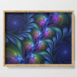Colorful Luminous Abstract Blue Pink Green Fractal Serving Tray