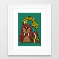 anaconda Framed Art Prints featuring The Walrus and the Anaconda by Artistic Dyslexia