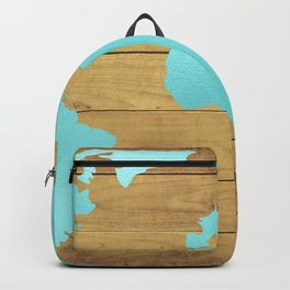 Earth Map Turquoise on Wood Backpack