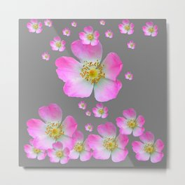 WIND BLOWN PINK WILD GARDEN ROSES Metal Print