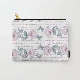 Pretty Succulent Rose Gold Striped Polka Dots Carry-All Pouch