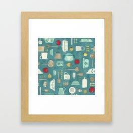 Vintage Kitchen Utensils / Teal Framed Art Print
