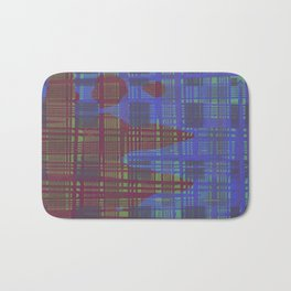 Red stain splashed onto blue messy stripes background Bath Mat