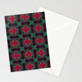 Pink and Green Retro Fractal Pattern Stationery Cards