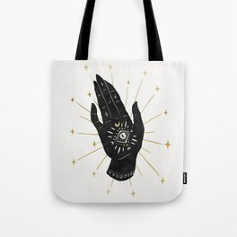 Mystic Hand with Eye - Black and Gold Ink Tote Bag