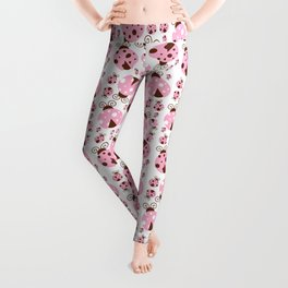Ladybugs (Ladybirds, Lady Beetles) - Pink Brown Leggings
