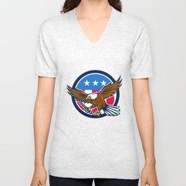 American Eagle Clutching Towing J Hook USA Flag Circle Retro Unisex V-Neck
