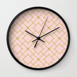 Pastel Pink Stars and Squares Lattice Art Print Wall Clock