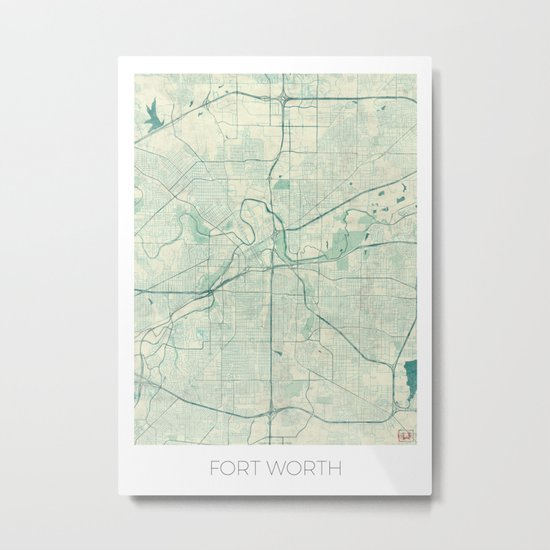 Fort Worth Map Blue Vintage Metal Print