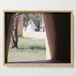 Stucco Window with View at Fort Stanton New Mexico Serving Tray